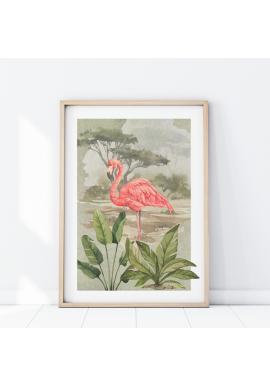 Nástenný safari plagát s motívom plameniaka
