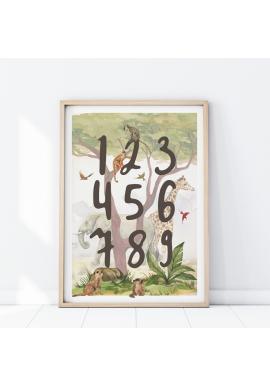 Nástenný safari plagát s číslami