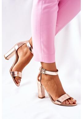 Elegantné dámske sandále ružovo-zlatej farby na stabilnom podpätku