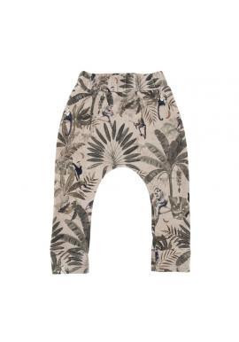 Detské bavlnené nohavice s gumičkou a s motívom opíc