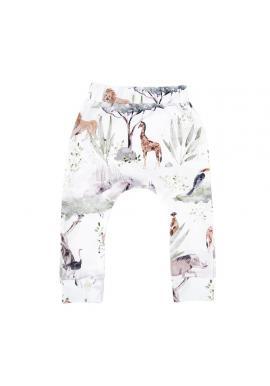 Bavlnené detské nohavice s gumičkou a s motívom Savany