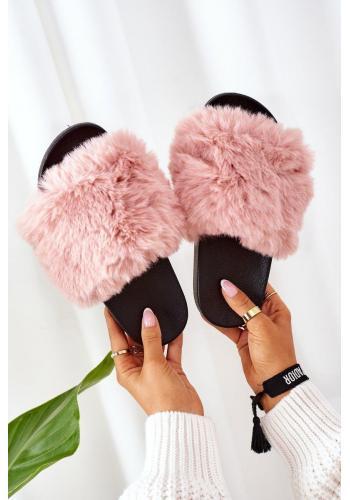 Gumené dámske šľapky ružovej farby s kožušinou