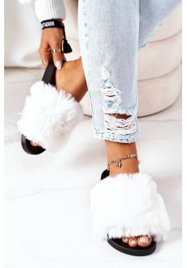 Dámske gumené šľapky s kožušinou v bielej farbe