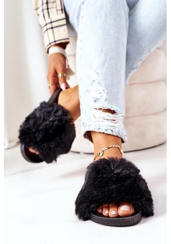 Čierne gumené šľapky s kožušinou pre dámy