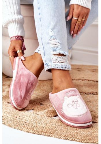 Dámske velúrové papuče s mačkou v tmavoružovej farbe
