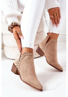 Béžové ažúrové topánky s výrezmi pre dámy