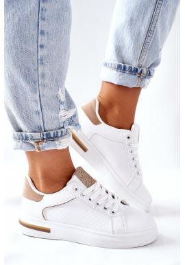 Dámske športové Sneakersy na platforme v bielo-béžovej farbe