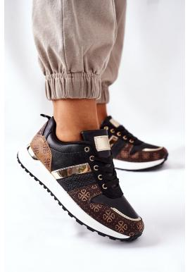 Štýlové dámske Sneakersy čiernej farby so vzorom
