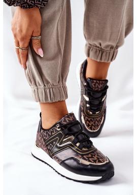 Čierno-hnedé módne Sneakersy so vzorom pre dámy