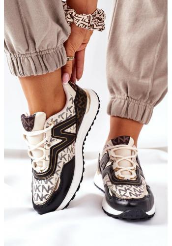Módne dámske Sneakersy béžovo-čiernej farby so vzorom