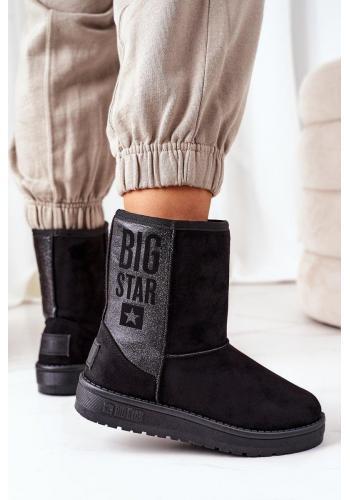 Dámske semišové snehule Big Star v čiernej farbe