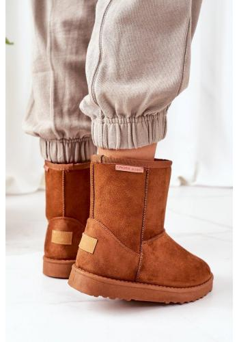 Semišové dámske snehule Cross Jeans hnedej farby