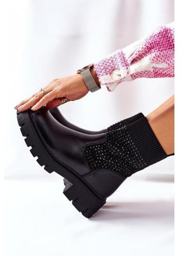 Čierne elastické Workery s kamienkami pre dámy