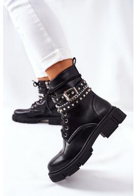 Čierne štýlové Workery s ozdobami pre dámy
