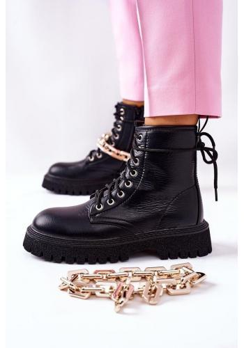 Čierne štýlové čižmy so zlatou retiazkou pre dámy