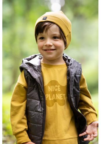 Horčicová detská mikina s nápisom Nice Planet