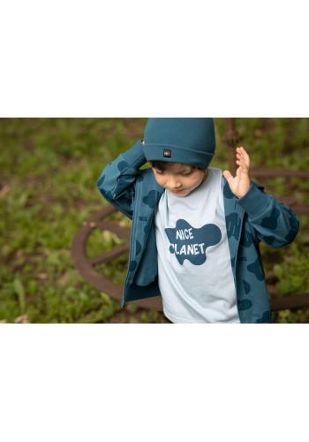 Chlapčenské tričko s nápisom v modrej farbe