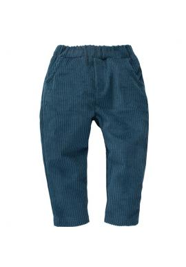 Menčestrové nohavice pre chlapca v tyrkysovej farbe