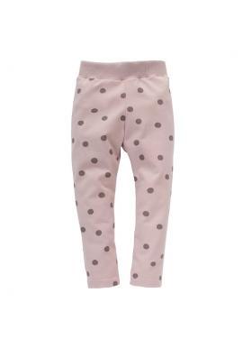 Bavlnené dievčenské ružové legíny s bodkami