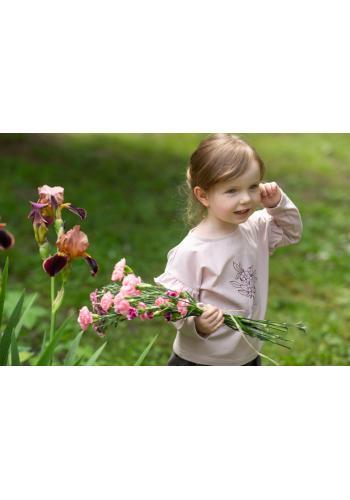 Dievčenská blúzka s dlhým rukávom a volánmi v ružovej farbe