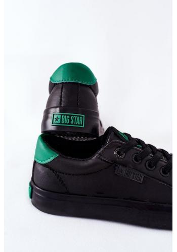 Čierno-zelené kožené tenisky Big Star pre deti