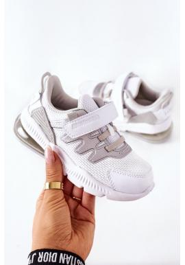 Štýlové detské tenisky bielo-striebornej farby so suchým zipsom