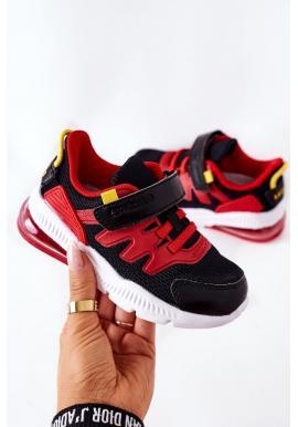 Čierno-červené štýlové tenisky so suchým zipsom pre deti