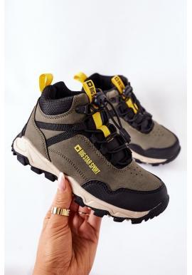 Trekingové detské topánky Big Star khaki farby