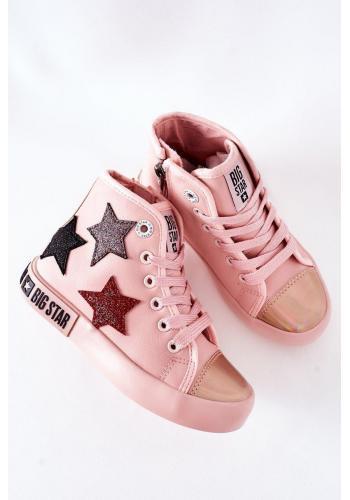 Dievčenské vysoké tramky Big Star s hviezdami v ružovej farbe