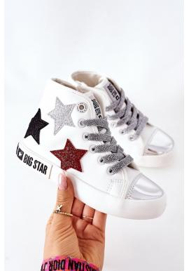 Vysoké dievčenské tramky Big Star bielej farby s hviezdami