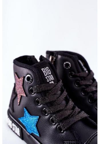 Čierne vysoké tramky Big Star s hviezdami pre dievčatá