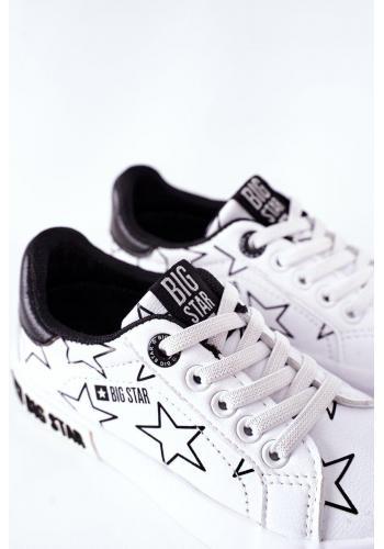 Biele kožené tenisky Big Star s hviezdami pre deti