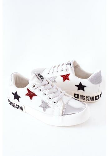 Kožené dievčenské tramky Big Star bielej farby s hviezdami