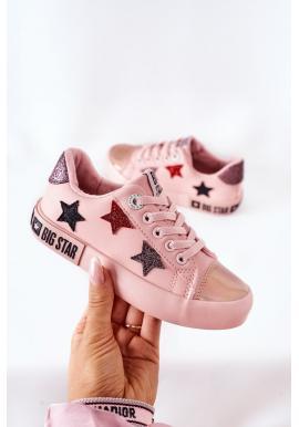 Ružové kožené tramky Big Star s hviezdami pre dievčatá