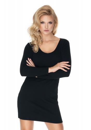 Čierne bavlnené mini šaty s dlhým rukávom s V výstrihom pre dámy