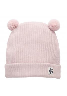Ružová čiapka s brmbolcami pre dievčatko