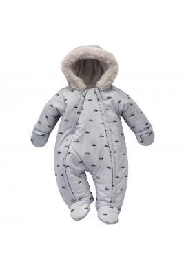 Sivá detská kombinéza na zimu s autíčkami a kapucňou