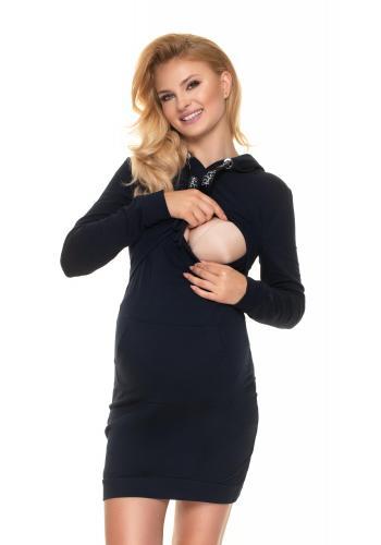Tmavomodré tehotenské šaty s kapucňou a krmným panelom