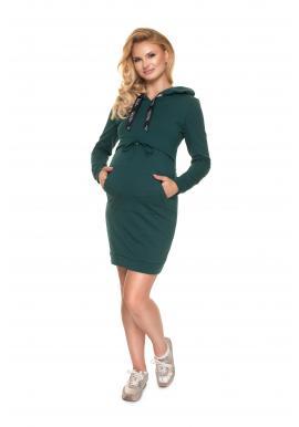 Tehotenské šaty s kapucňou a krmným panelom v zelenej farbe