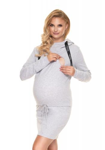 Sivé tehotenské šaty s krmným panelom a viazaním v páse