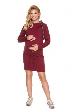 Klasické tehotenské šaty s krmným panelom v bordovej farbe