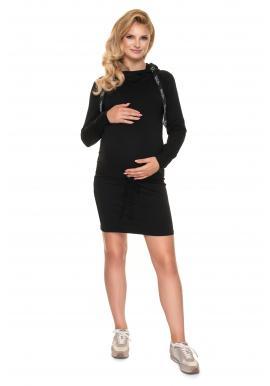 Čierne dojčiace šaty s krmným panelom a viazaním v páse