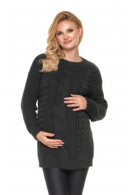 Grafitový pletený sveter pre tehotné