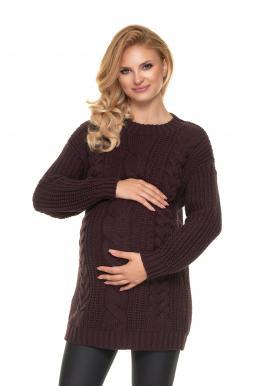 Teplý pletený sveter pre tehotné v hnedej farbe