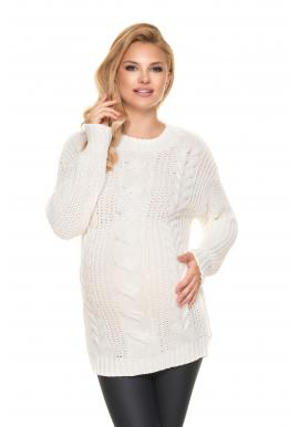 Tehotenský pletený sveter v krémovej farbe