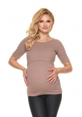Tehotenská a dojčiaca blúzka s krmným panelom v béžovej farbe