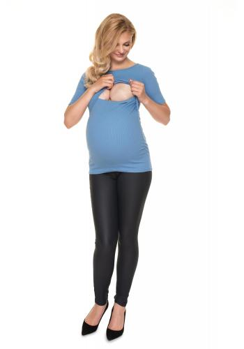 Modrá tehotenská a dojčiaca blúzka s krmným panelom