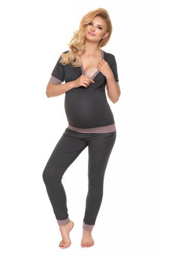 Tehotenské a dojčiace pyžamo s gombíkmi v grafitovej farbe