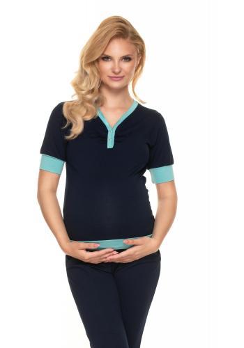 Tmavomodré tehotenské a dojčiace pyžamo s gombíkmi