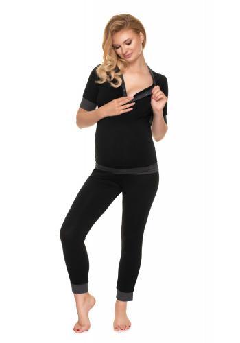 Tehotenské a dojčiace pyžamo s gombíkmi v čiernej farbe